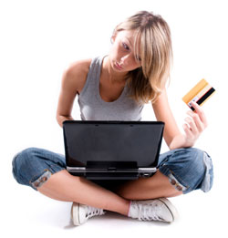 woman shopping on laptop