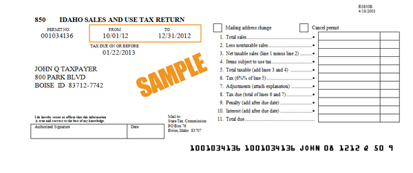 sample form 850